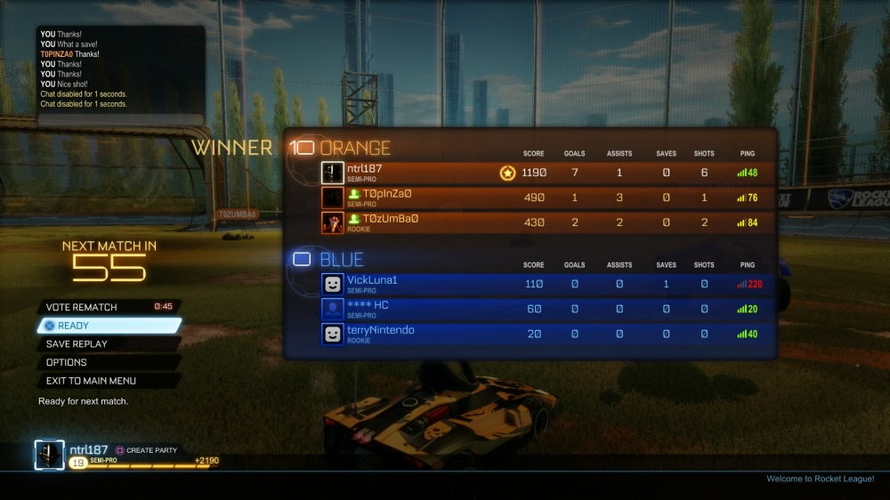 Rocket League end match stats